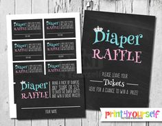 Prince or Princess Diaper Raffle Tickets & Sign by Print4Yourself
