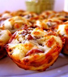 sausage && pepperoni pizza puffs