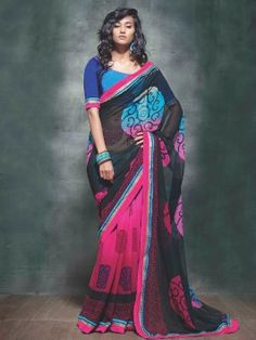 Black And Pink Georgette Saree With Print Work