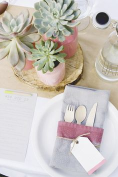 Cute table setting idea with succulent centerpieces from Kelly's pink baby shower Succulent Wedding Centerpieces, Baby Shower Table Centerpieces, Bridal Shower Tables, Succulent Table Decor, Cactus Centerpiece, Centerpiece Ideas, Simple Bridal Shower, Bridal Shower Rustic, Centerpiece Christmas
