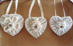 Valentine shabby chic hanging hearts.White fabric wall hanging heart.Mobile heart.Valentine heart decor.Wedding decor.Door hanging heart by VintageShopCreations on Etsy