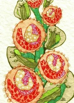 Miniature garden art - Growing Beautiful in the Garden of Eden (ACEO mini print) by artist Jessica Doyle