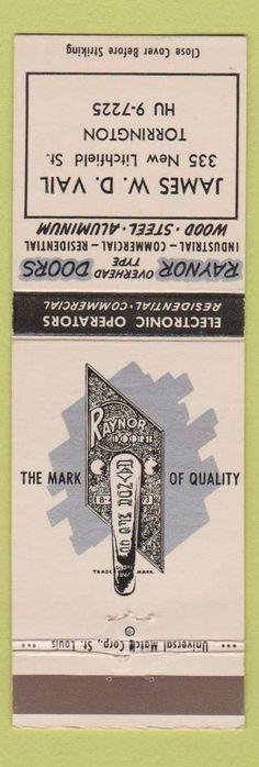 Matchbook Cover - James Vail Torrington CT Raynor Garage Door