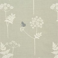 Cow parsley fabric - Vanessa Arbuthnot £46.00 per metre - pigeon and charcoal colour scheme