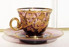 Royal Albert, Glass Coffee Cups, Pink Cups, Stained Glass Designs, Teapots And Cups, Tea Bowls, Tea Cup Saucer, Murano Glass, Ceramics