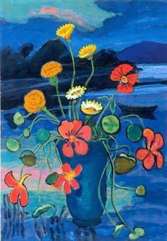 Gabrielle Münter Floral Still LIfe in front of a Landscape Private collection Painting - oil on cardboard Height: 45 cm in.), Width: 33 cm in. Wassily Kandinsky, Art Floral, George Grosz, Expressionist Artists, Guache, Art Prints For Sale, Flower Art, Still Life, Modern Art