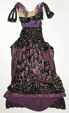 Callot Soeurs, Evening Dress of Black Sequins on Plum Silk. French, 1913.