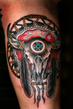 What does native american tattoo mean? We have native american tattoo ideas, designs, symbolism and we explain the meaning behind the tattoo. Cow Skull Tattoos, Indian Skull Tattoos, Feather Tattoos, Body Art Tattoos, Sleeve Tattoos, Tatoos, Tattoos Pics, Tattoos Tribal, Western Tattoos