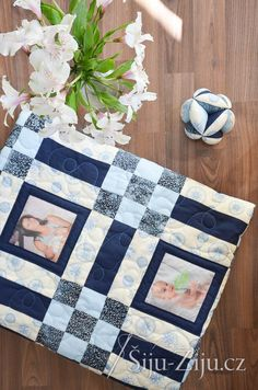 Navy Memory quilt for baby / Šiju-Žiju. Baby Quilts, Memories, Blanket, Navy, Scrappy Quilts, Memoirs, Hale Navy, Souvenirs, Baby Afghans