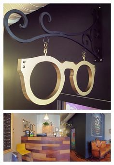 A two foot frame painted hammered metal gold for a fantastic new optical shop…