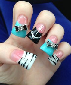 I like these minus the big flare and bows Wide Tip Nails, Duck Tip Nails, Long Nails, Gorgeous Nails, Pretty Nails, Amazing Nails, Diamante Nails, Anchor Nail Art, Flare Nails