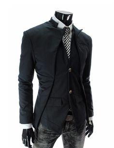 Men's Long Sleeve Stand-up Collar Asymmetric Suit Jacket - Outerwear - Men