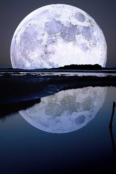 Moon and its reflection
