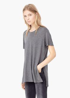 T-shirt met zijsplitjes