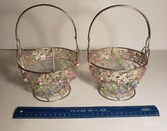Vintage Silver Wire Easter Basket with Pastel Acrylic Beads Set of 2 Acrylic Beads, Easter Baskets, Vintage Silver, Pastel, Wire, Ebay, Cake, Crayon Art, Melting Crayons