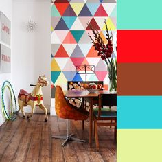 Styling by Ashlyn Gibson for Creative Family Home  Chevrons, stripes and polka dots are so last year! Love this triangle pattern. Very Buckminster Fuller.