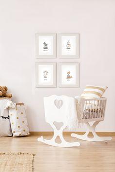 nursery decor, nursery illustrations, animal watercolor, interior design idea. beige nusery room Nursery Prints, Nursery Decor, Learning Techniques, Watercolor Animals, Baby Room, Toddler Bed, Beige, Interior Design, Handmade Gifts