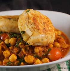 Chana Masala topped with Aloo Tikki