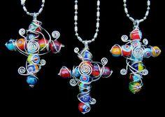 Wire-wrapped Millefiori Bead Cross Pendant
