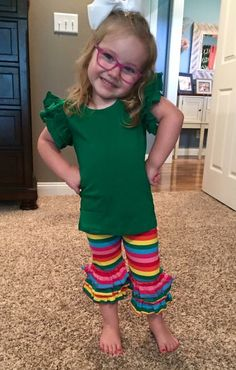 3-2-1 Triple Ruffle Rainbow Capri or Pants www.adorableessentials.com