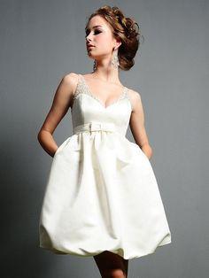 A-line V-neck Satin Short/Mini Bow Wedding Dresses at Msdressy