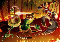 Mis cinco furiosos/kung fu panda by Rocio-Aj on DeviantArt Po And Tigress, Master Oogway, Guardian Of The Moon, Panda Images, Dreamworks Movies, Panda Art, Cartoon Shows, Disney, Character Design