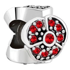 New Year Deals - birthstone charms birthstone rose pink crystal open poppy flower bead Image.