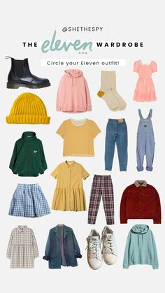 the eleven wardrobe Fandom Fashion, 90s Fashion, Retro Fashion, Fashion Outfits, Hipster Outfits, Cute Outfits, Disfraces Stranger Things, Hipster Mode, Stranger Things Halloween