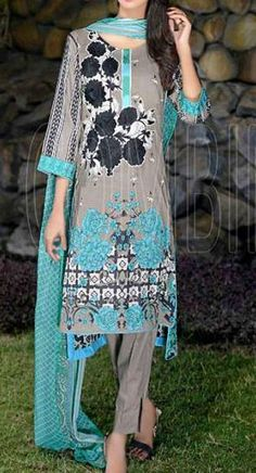 Buy Grey Embroidered Cotton Lawn Dress by Combinations 2016 Buy Salwar Kameez Online, Ladies Salwar Kameez, Online Clothing Stores, Dresses Online, Culture Clothing, Desi Wear, Pakistani Suits, Indian Outfits, Traditional Outfits
