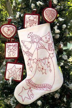more cute redwork ornaments
