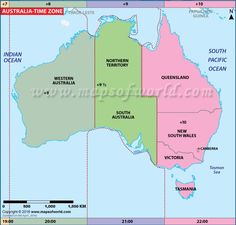 Australia Time Zone Map, Current Local Time in Australia Australia Time Zones, Australia Map, Western Australia, Time Zone Map, Tasmania, Maths, Geography, Country, Map Of Australia