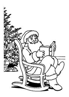 Coloriage Père Noël et Lecture - Hugolescargot.com