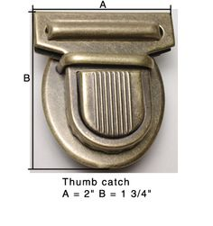 Thumb Catch large size includes backup washer.  Antique Brass, Brass and Nickel finishes.
