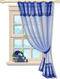 Window with Blue Curtons