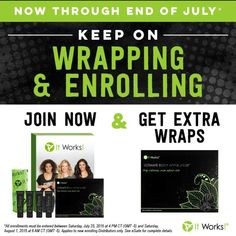 Want to make some extra cash to help pay a bill or two. Need extra cash to make it through the month. Want to own your own Business. If you said yes to any of that the you need to give my ITWorks Global company a try. Sign up right now and get a free box of wraps. That 8 wraps on top of all the other awesome stuff you get. Want to know more call/text 361-542-0899 or go to  www.crazywrapping.myitworks. com