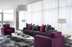 48 Cute Purple Living Room Design You Will Totally Love. The Living Room style and colour choices are inevitably dictated by size, use and environment and this particularly relevant when hot colours&n. Living Room Decor Purple, Living Room Grey, Living Room Furniture, Purple Rooms, Living Rooms, Living Room Ideas Purple And Grey, White Furniture, Modern Furniture, Modern Interior