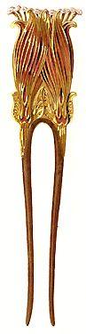 Paul Foillot hair pin, c. 1903 Art Nouveau http://www.pinterest.com/lunijewelry/adornments-and-crowns/