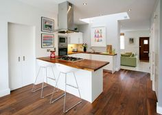 white + wooden counter top