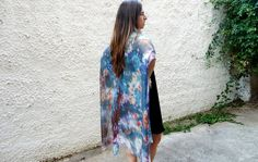 Kimono Wrap Long Boho Kimono Cover Up Blue Kimono Hand Painted Kimono Silk Cardigan
