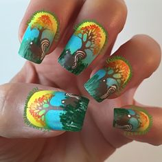 Squirrel mani  polishes used #chinaglaze Shore Enuff, wait n' sea,#fingerpaints frosty lemonade, #mundodeunas caramel-58, yellow-11, geranium-53, stamping plates used #moyou_london Mother Nature-3,
