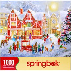 The Christmas Festival shows families gathered in the center of town to celebrate the holiday. The bustle of the season is illustrated with last minute shopping and children playing in the snow. Springbok puzzles are hand cut to ensure that no pieces are alike and that the pieces interlock flawlessly.  $17.99  http://www.calendars.com/Christmas/Christmas-Festival-1000-Piece-Puzzle/prod201000011634/?categoryId=cat00134=cat00134#