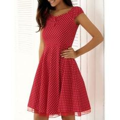DressLily - Dresslily Buttoned Polka Dot Spliced Swing Dress - AdoreWe.com