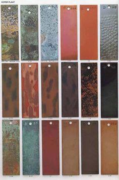 kleuren die ontstaan bij het patineren van koperplaat