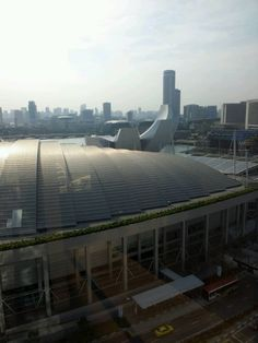 View of Downtown Singapore from Marina Bay Sands Hotel.
