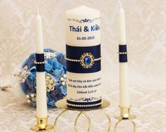 Wedding Unity Candle Set in Navy Blue and Gold, Wedding Candles Set Wedding Unity Candles, Gold Candles, Taper Candles, Jewel Colors, Ribbon Colors, Navy Blue And Gold Wedding, Candle Set, Burning Candle, Personalized Wedding