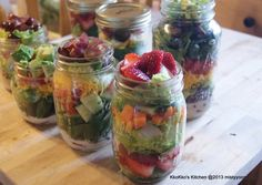 Mason jar salads. Seems like a great idea for lunches or a make ahead dinner for a night when all the kids have activities!