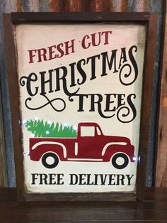 Rustic Framed Fresh Cut Christmas Tree Sign by southernchicbyle