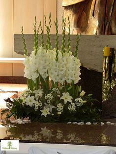 White Flower Arrangements, Flower Centerpieces, Gladiolus Arrangements, Flower V. Gladiolus Arrangements, Funeral Floral Arrangements, Easter Flower Arrangements, Beautiful Flower Arrangements, Flower Centerpieces, Flower Decorations, Altar Decorations, Flower Vases, Church Wedding Flowers