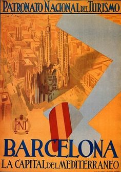 Barcelona Mediterranean Capital Travel Poster by Retro Graphics Barcelona Tours, Barcelona Travel, Barcelona Spain, Barcelona City, Travel And Tourism, Spain Travel, Illustrations Vintage, A4 Poster, Poster Wall