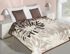 Dwustronne kremowe narzuty na łóżko w brązowe wzory